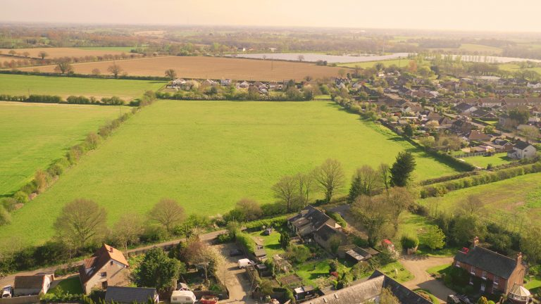 drone shot of land for sale
